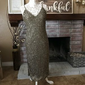 New Alice + Olivia Army green sequin dress sz 10